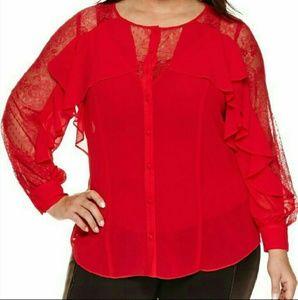 NWT Bisou Bisou Ruffle illusion blouse